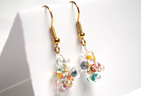 Angel drop earrings - Pretty cluster of clear beads, with multi-coloured centres, woven together with thin gold wire. Matching necklace and bracelet available.