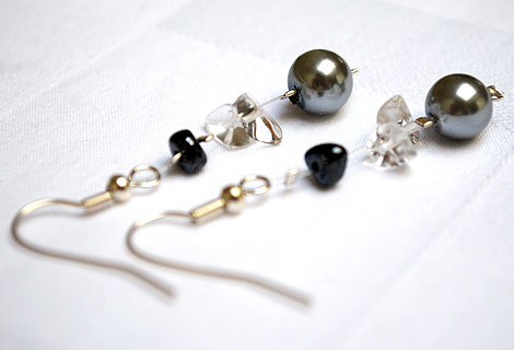 Nicola gem floating drop earrings - These exquisite earrings of pearlescent beads, semi-precious gems and organic-shaped black beads float delicately on your ears and add a touch of glamour to any outfit. Silver plated hooks.