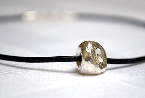 Kate silver ball pendant - Light and simnple sterling silver hammered ball on leather cord. Sterling silver 'S' hoop clasp.